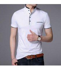 camiseta casual de manga corta en color liso para hombre-blanco