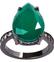 anel gota the ring boutique pedra cristal verde esmeralda ródio negro