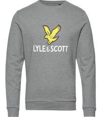 logo sweatshirt sweat-shirt trui grijs lyle & scott