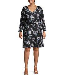 plus floral long-sleeve wrap dress