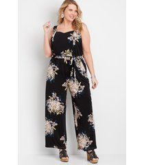 maurices plus size womens black floral tank top jumpsuit