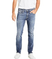 jeans slim straight azul guess