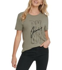 dkny jeans sequin-embellished logo-print t-shirt