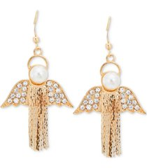 holiday lane gold-tone pave & imitation pearl chain-fringe angel drop earrings, created for macy's