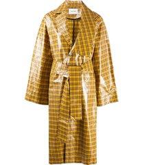 henrik vibskov vinyl check-print coat - yellow