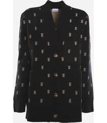 burberry oversized cardigan in wool and cashmere with monogram motif