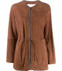 fabiana filippi bead-embellished collarless jacket - brown