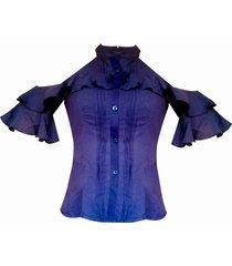 blusa camisera hombros descubiertos sarab - azul