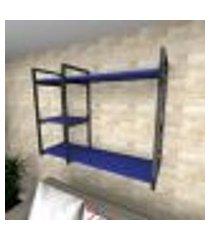 prateleira industrial para sala aço preto prateleiras 30 cm azul escuro modelo ind16azsl