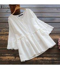 zanzea blusa patchwok de encaje de verano para mujer laides casual camisa con botones sueltos tops plus -blanco
