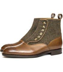 handmade men brown leather boots, men brogue toe tweed boot, dress boot for men