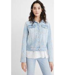 embroidered slim denim jacket - blue - 46