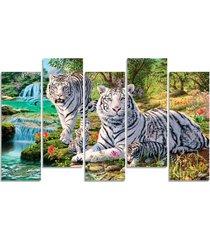 quadro decorativo para sala quarto casal tigre branco