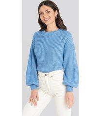 na-kd balloon sleeve round neck sweater - blue