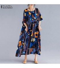 zanzea verano de las mujeres de bohemia de la playa vestido floral de las señoras vestidos maxi largo kaftan -azul