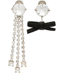 miu miu crystals and bow earrings - black