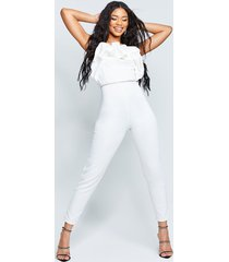 recycled bandeau jumpsuit with scrunched ruffle, ivory