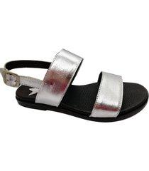 sandalia de cuero plateada abryl calzados habana