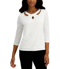 kasper petite solid twist-neck 3/4-sleeve top