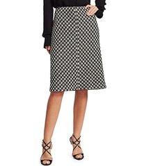 houndstooth textured bouclé knit a-line skirt