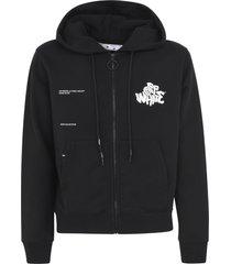 off-white blur logo slim zip hoodie