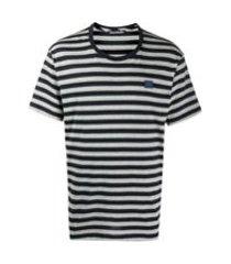 acne studios camiseta decote careca com listras - azul