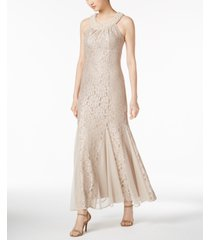r & m richards petite embellished glitter lace gown