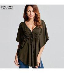 zanzea 2018 mujeres del verano blusas camisas con cuello en v manga del batwing de las señoras de gran tamaño tes de las tapas casual tamaño flojo blusas femininas plus verde del ejército -verde