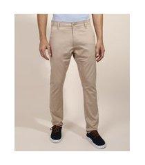 calça de sarja masculina chino slim kaki