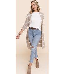 women's apryl striped knit cardigan duster in beige by francesca's - size: l