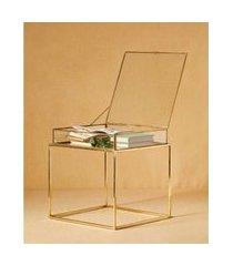 mesa vidro aço latão cor: transparente e dourado - tamanho: único