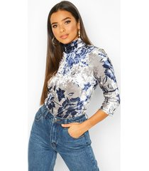 luxury printed velour turtle neck top, silver