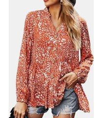 camicetta casual da donna a maniche lunghe con scollo a v con stampa floreale
