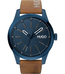 hugo men's #invent brown leather strap watch 46mm