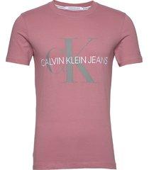 vegetable dye monogram slim tee t-shirts short-sleeved rosa calvin klein jeans