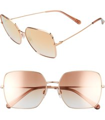 dolce & gabbana 57mm gradient square sunglasses in pink gold/grad pink mirror at nordstrom
