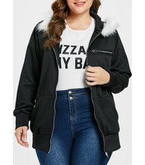 plus size graphic long hoodie
