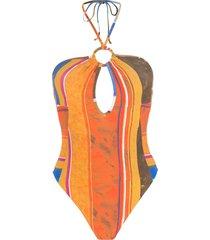 amir slama striped print eco high-leg swimsuit - orange