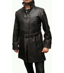 men leather coat winter long  leather coat genuine real leather trench coat-uk39