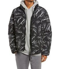 men's topman men's signature print puffer jacket, size xx-large - black