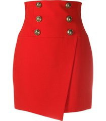 balmain short high-waist buttoned wrap skirt - red
