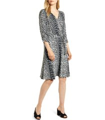 women's loveapella leopard print wrap front dress, size x-large - black