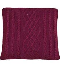 capa almofada tricot 40x40cm c/zãper sofa trico cod 1026 marsala - vinho - feminino - dafiti