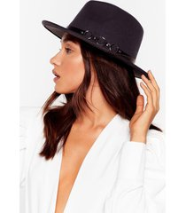 womens we don't know a ring faux wool fedora hat - dark grey