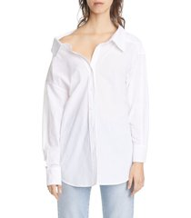 women's simon miller tabor off the shoulder cotton poplin shirt