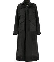 y-3 long cargo coat - black
