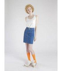 saia jeans amapô cintura alta delavê feminina