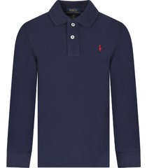 ralph lauren blue boy polo shirt with red iconic horse