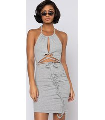 akira 50 shades of slay lace up ruched mini dress