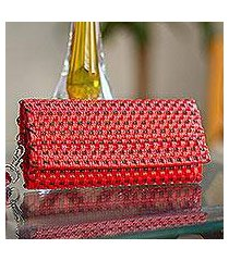 leather accent handwoven wristlet, 'red checkers' (mexico)